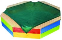 T-WOOD Pieskovisko drevené osemhranné s ochrannou sieťou farebné