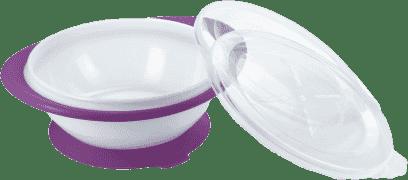 NUK EL Detská miska s 2 viečkami a prísavkou – fialová