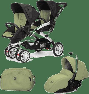 CASUALPLAY Zestaw Wózek dla bliźniąt Stwinner, 2x Fotelik samochodowy Sono i Torba 2015 - Grape