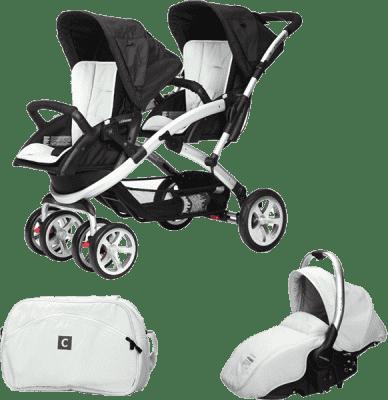 CASUALPLAY Zestaw Wózek dla bliźniąt Stwinner, 2x Fotelik samochodowy Sono i Torba 2016 - Ice