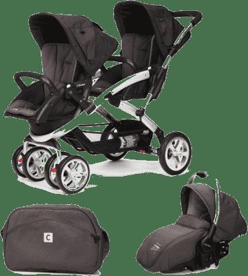 CASUALPLAY Zestaw Wózek dla bliźniąt Stwinner, 2x Fotelik samochodowy Sono i Torba 2015 - Lava rock