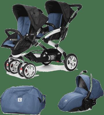 CASUALPLAY Set kočárek pro dvojčátka Stwinner, 2x autosedačka Sono a Bag 2016 - Lapis lazuli
