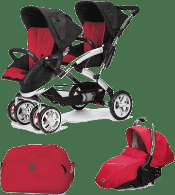 CASUALPLAY Zestaw Wózek dla bliźniąt Stwinner, 2x Fotelik samochodowy Sono i Torba 2015 - Raspberry