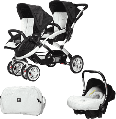 CASUALPLAY Set kočík pre dvojičky Stwinner, 2 x autosedačka Baby 0plus a Bag 2016 - Ice