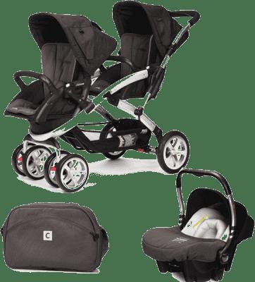CASUALPLAY Zestaw Wózek dla bliźniąt Stwinner, 2x Fotelik samochodowy Baby 0plus i Torba 2015 - Lava