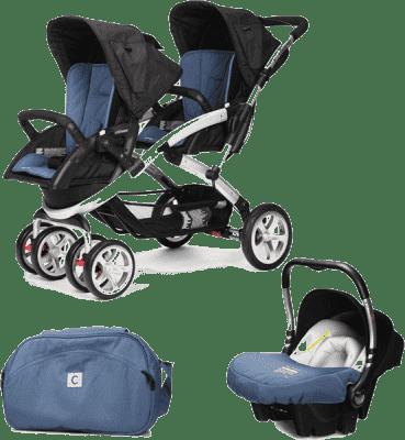 CASUALPLAY Set kočík pre dvojičky Stwinner, 2 x autosedačka Baby 0plus a Bag 2016 - Lapis lazuli