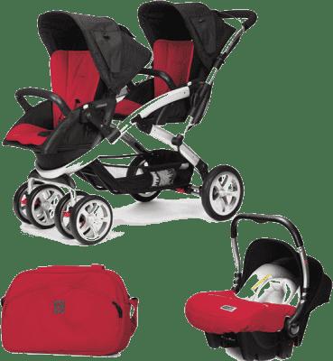 CASUALPLAY Zestaw Wózek dla bliźniąt Stwinner, 2x Fotelik samochodowy Baby 0plus i Torba 2015 - Rasp