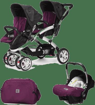 CASUALPLAY Zestaw Wózek dla bliźniąt Stwinner, 2x Fotelik samochodowy Baby 0plus i Torba 2016 - Plum