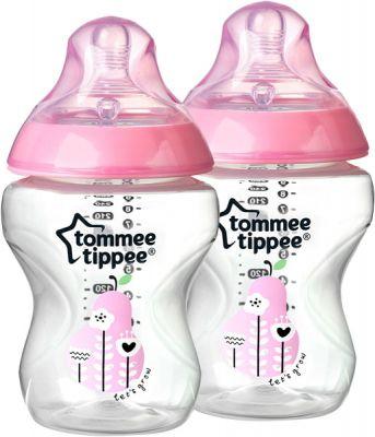 TOMMEE TIPPEE Dojčenská fľaša s obrázkami C2N, 2 ks 260ml, 0 + m-ružová