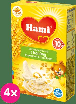 4x HAMI kaša mliečna s banánmi, chrumkami a corn-flakes 225g