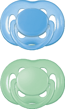 AVENT Cumlík Sensitive 2ks (silikón) 6-18 m, zelený+modrý