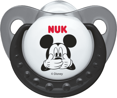 NUK Cumlík Trendline Mickey, silikón, ortodontický, veľkosť 1 (0-6 m) – šedý