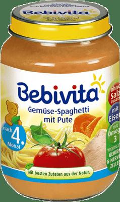 BEBIVITA Zelenina a špagety s morčacím mäsom (190 g) - mäsovo-zeleninový príkrm