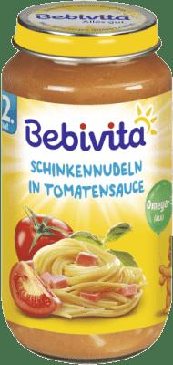 BEBIVITA Paradajková omáčka s cestovinami a šunkou (250 g) - mäsovo-zeleninový príkrm