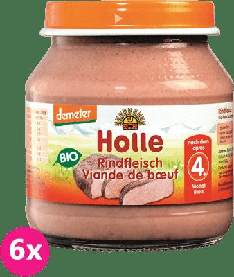6x HOLLE Bio Hovězí maso - masový příkrm, 125 g
