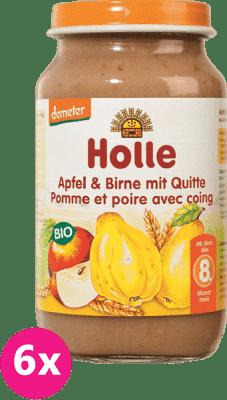 6x HOLLE Bio Jablko, hruška s kdoulí  - ovocný příkrm, 220g