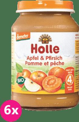 6x HOLLE Bio Broskyňa a jablko, 190 g - ovocný príkrm