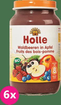 6x HOLLE Bio Lesné plody v jablku, 220 g - ovocný príkrm