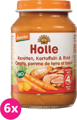 6x HOLLE Bio Mrkev, brambor a hovězí maso - masový příkrm, 190 g