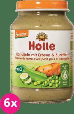 6x HOLLE Bio Brambor, hrášek a cuketa - zeleninový příkrm, 190 g