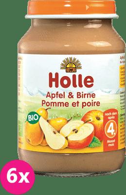 6x HOLLE Bio Jablko a hruška, 190 g - ovocný príkrm