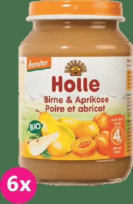6x HOLLE Bio Hruška a marhuľa, 190 g - ovocný príkrm