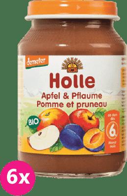 6x HOLLE Bio Jablko a slivka, 190 g - ovocný príkrm