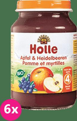 6x HOLLE Bio Jablko a čučoriedka, 190 g - ovocný príkrm