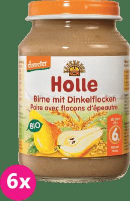 6x HOLLE Bio Hruška a špaldové vločky, 190 g - ovocný príkrm