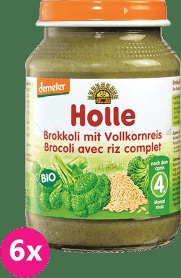 6x HOLLE Bio Brokolica s celozrnnou ryžou, 190 g - zeleninový príkrm