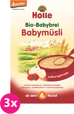 3x HOLLE Bio Babymüsli kaša, 250 g