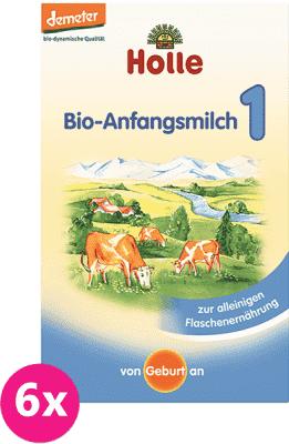 6x HOLLE Bio počiatočné dojčenské mlieko 1 (400g)