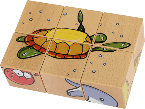 PILCH Skládačka – ocean, 6 kostek