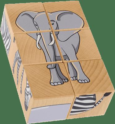 PILCH Skládačka – safari, 6 kostek