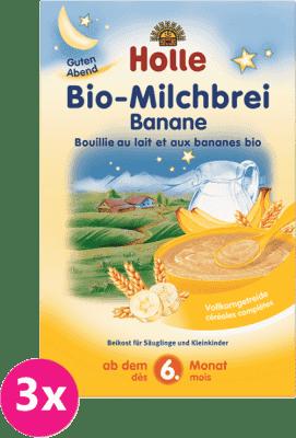 3x HOLLE Bio Banánová mliečna kaša, 250 g