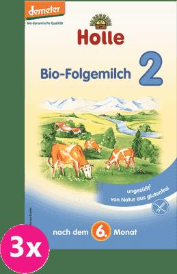 3x HOLLE Bio pokračovacie dojčenské mlieko 2 (600g)