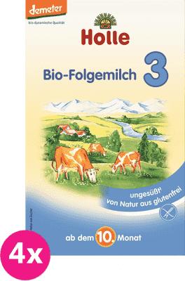 4x HOLLE Bio pokračovací mléčná kojenecká výživa 3, 600g