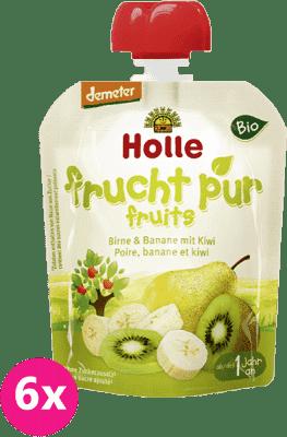 6x HOLLE Bio ovocné pyré hruška, banán s kiwi, 90g