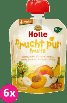 6x HOLLE Bio Banán, jablko, mango a marhuľa, 90 g - ovocné pyré