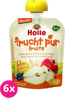 6x HOLLE Bio Hruška, jablko, čučoriedky s vločkami, 90 g - ovocné pyré