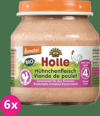 6x HOLLE Bio Kuracie mäso, 125 g - mäsový príkrm