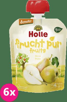 6x HOLLE Bio Hruška, 90 g - ovocné pyré