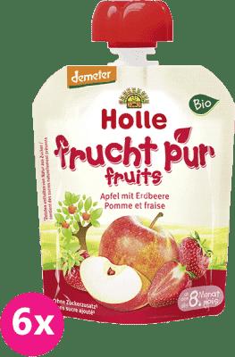 6x HOLLE Bio Jablko s jahodami, 90 g - ovocné pyré