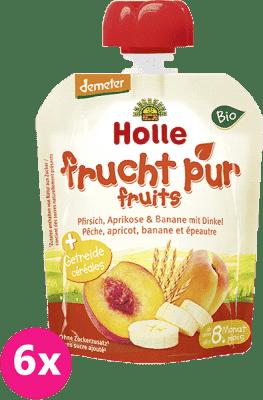 6x HOLLE Bio ovocné pyré broskev, meruňka, banán se špaldou, 90g