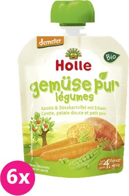 6x HOLLE Bio pyré mrkev, sladký brambor, hrášek, 90g