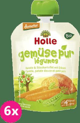 6x HOLLE Bio Mrkva, sladký zemiak, hrášok, 90 g - zeleninové pyré