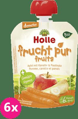 6x HOLLE Bio Jablko s mrkvou a paštrnák, 90 g - ovocno-zeleninové pyré