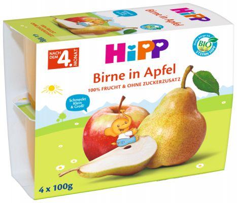 HIPP BIO Jablká s hruškami (4x 100 g) - ovocný príkrm