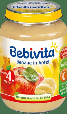 BEBIVITA Jablká s banánom (190 g) - ovocný príkrm