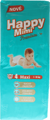 HAPPY MIMI dětské pleny Premium Maxi 50 ks